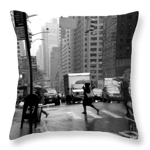 New York Throw Pillow featuring the photograph Running In The Rain - New York City Street Scene by Miriam Danar