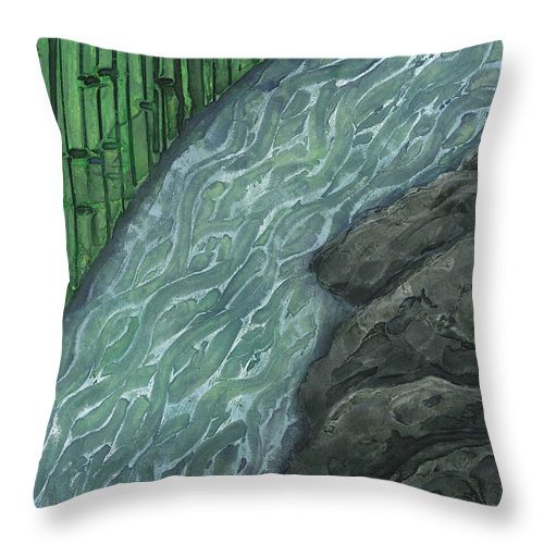 Japan Throw Pillow featuring the painting Running Stream by Carrie MaKenna