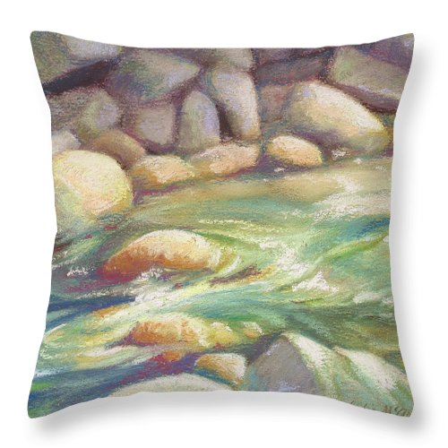 Pastel Throw Pillow featuring the painting Running Stream by Leslie Alfred McGrath