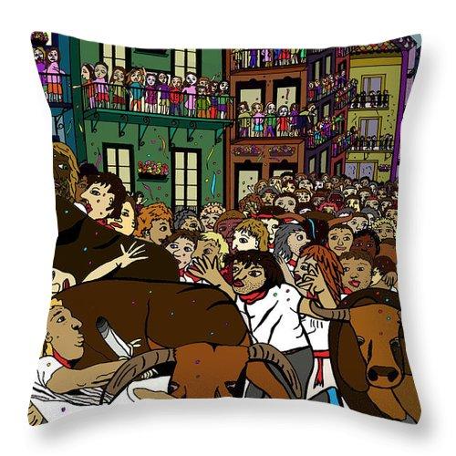 Bulls Throw Pillow featuring the digital art Running With The Bulls 1 by Karen Elzinga