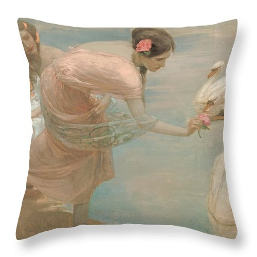 A Summer Morning Throw Pillow featuring the painting A Summer Morning by Georgia Fowler