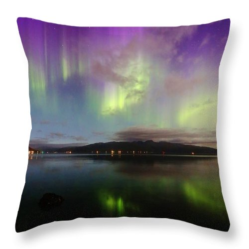 Norway Throw Pillow featuring the photograph Rural Fjordland Aurora by David Broome