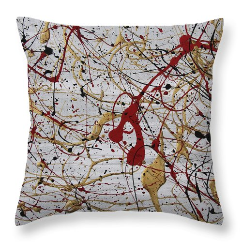 Abstract Throw Pillow featuring the painting Ruskin by Laura Lane
