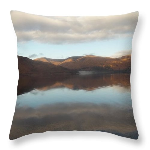 Highlands Throw Pillow featuring the photograph Russet Highland Mountain Refection by James Potts