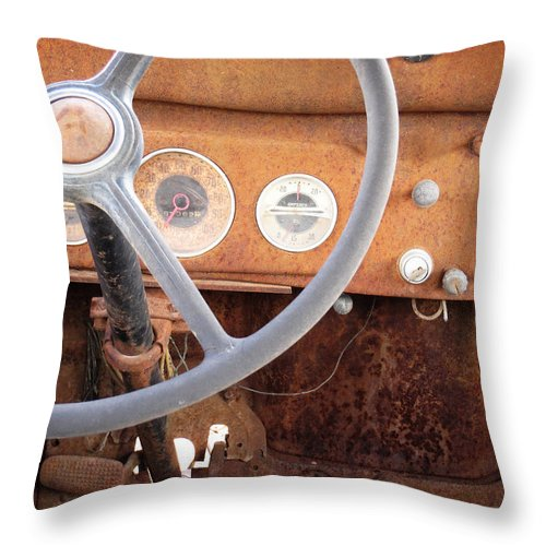 Rusted Throw Pillow featuring the photograph Rusted Dash Of Classic Car by Ray Van Gundy