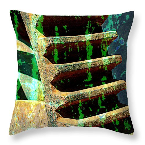 Rust Throw Pillow featuring the photograph Rusted Gears Abstract by Carol Groenen