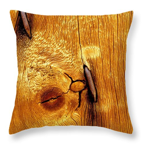 Rusted Nails Throw Pillow featuring the photograph Rusted Nails In Weathered Pine by Cyril Furlan
