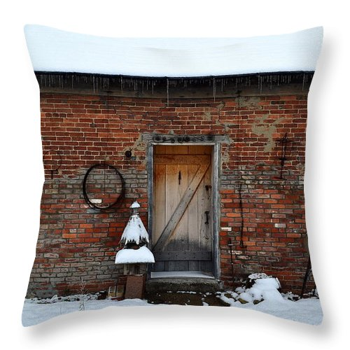 Barn Throw Pillow featuring the photograph Rustic Brick Workshop by Amy Lucid