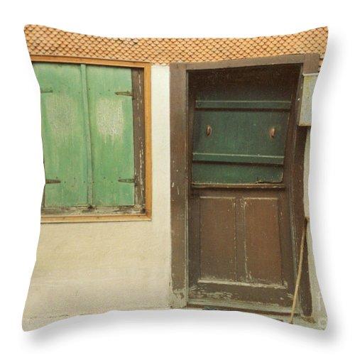 Wooden Door Throw Pillow featuring the photograph Rustic Door by Christine Jepsen