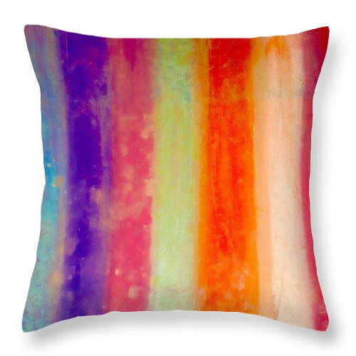 Rainbow Throw Pillow featuring the painting Rustic Rainbow by Jeszy Arnold
