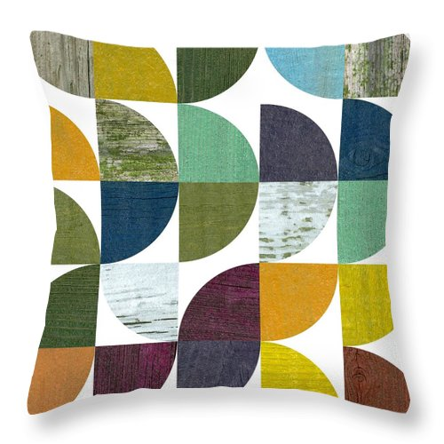 Wooden Throw Pillow featuring the digital art Rustic Rounds 2.0 by Michelle Calkins
