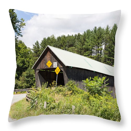 Architecture Throw Pillow featuring the photograph Rustic Vermont Covered Bridge by John M Bailey