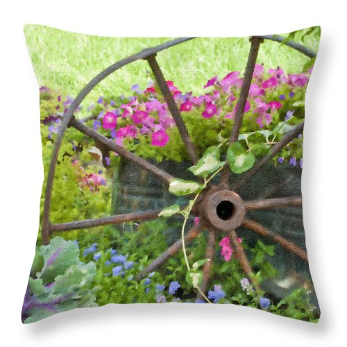Vintage Wheel Throw Pillow featuring the photograph Rustic Wheel Digital Artwork by Sandra Foster