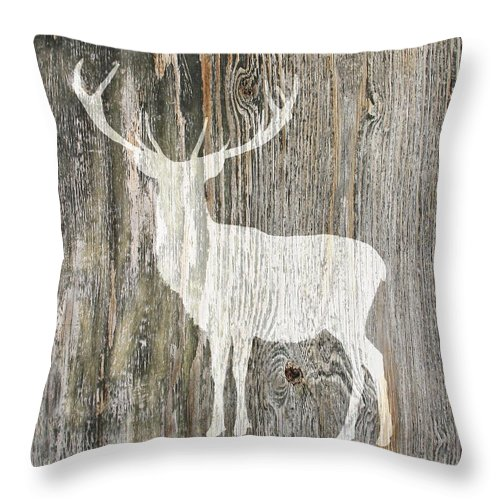 Rustic White Stag Deer Silhouette On Wood Left Facing Throw Pillow For Sale By Suzanne Powers