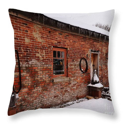 Barn Throw Pillow featuring the photograph Rustic Workshop In Winter by Amy Lucid