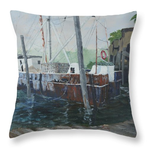 Sailing Throw Pillow featuring the painting Rusty by Kathy Przepadlo