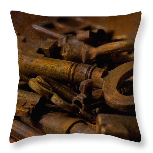 Keys Throw Pillow featuring the photograph Rusty Keys by WB Johnston