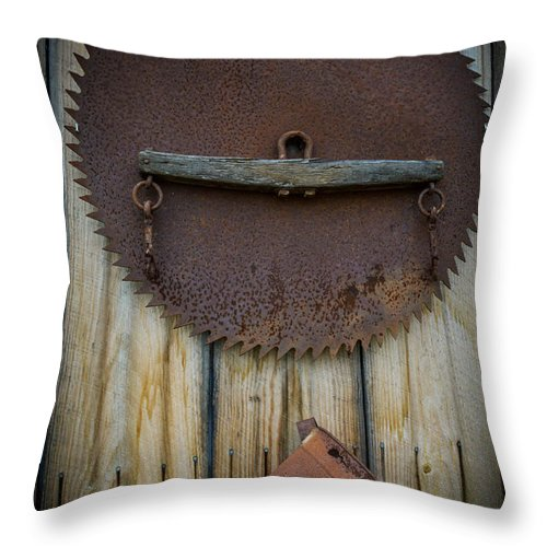 Rusty Tools Throw Pillow featuring the photograph Rusty On The Wall by Sherman Perry