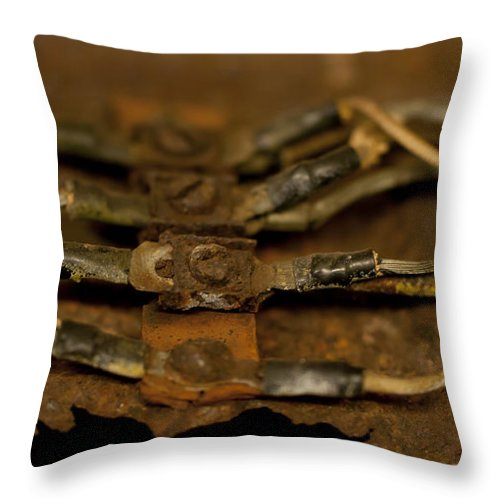 Rust Throw Pillow featuring the photograph Rusty Wires by Wilma Birdwell