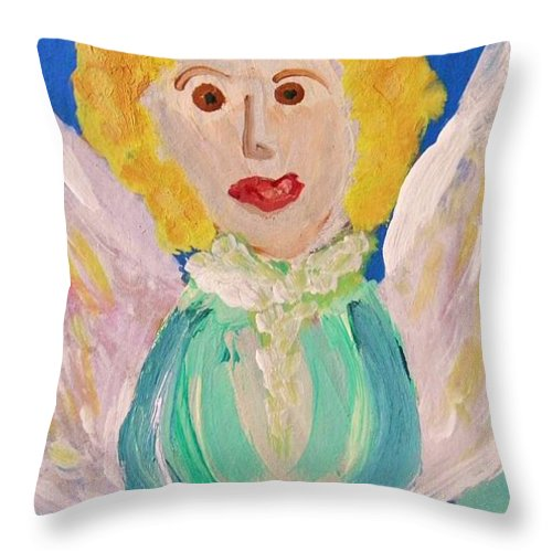 Acrylic Throw Pillow featuring the painting Ruth E. Angel by Mary Carol Williams