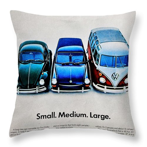 Volkswagen Throw Pillow featuring the photograph S M L by Benjamin Yeager