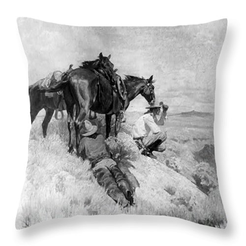 The Crossing Throw Pillow featuring the digital art S Wrench Buckaroos by W Herbert Dunton