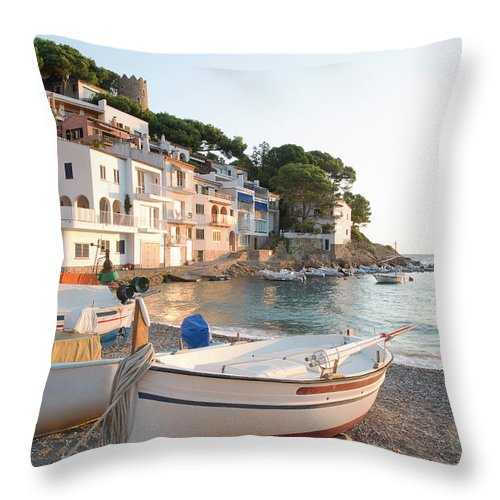 Tranquility Throw Pillow featuring the photograph Sa Tuna, Costa Brava. Spain by Gary John Norman