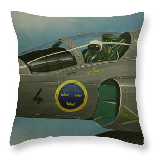 Swedish Air Force Throw Pillow featuring the painting Saab Viggen Gruppo 4 Cockpit by Richard John Holden RA