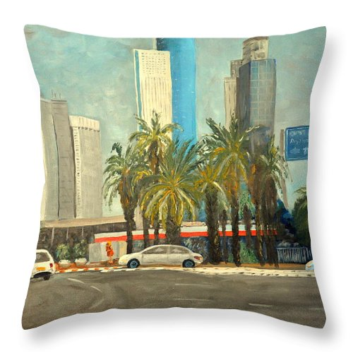Train Station Throw Pillow featuring the painting Sabidor Tel Aviv by Asher Topel