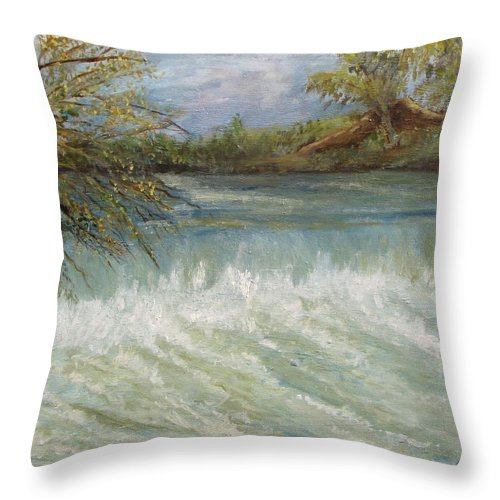 Dam Throw Pillow featuring the painting Sabino Canyon Dam by Caroline Owen-Doar