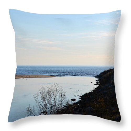 Sable River Throw Pillow featuring the photograph Sable Meets Lake Michigan by Linda Kerkau