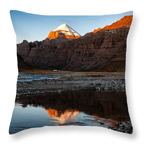 Cold Throw Pillow featuring the photograph Sacred Mountain In Tibet - Mount Kailash by Kim Pin Tan