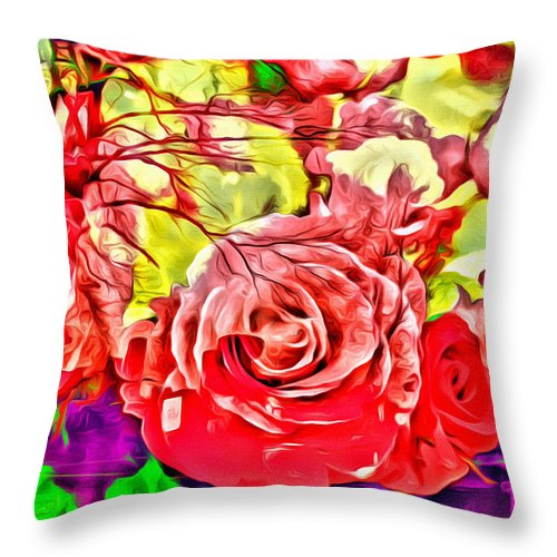 Roses Abstract Cross Throw Pillow featuring the photograph Sacred Roses by Alice Gipson