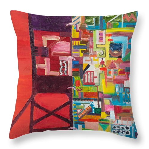 sacriifice Abstract. Throw Pillow featuring the painting Sacriifice by Justin Stouffs