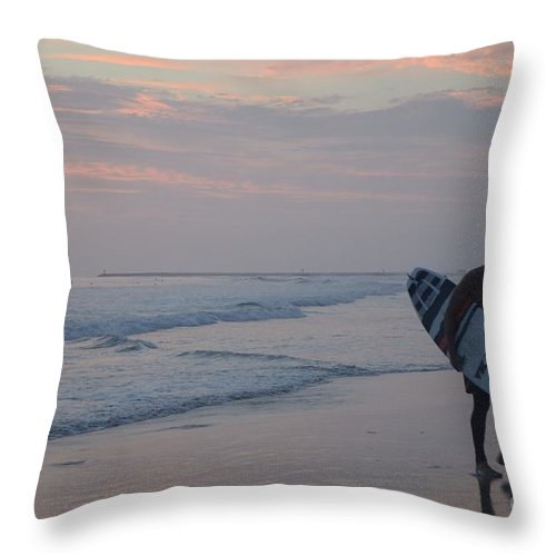 Surfer Throw Pillow featuring the photograph Sad Farewell by Mithayil Lee