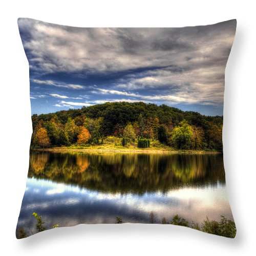 Todd Carter Saddle Lake Water Tree Trees Blue Green Orange Brown Yellow Reflection Cloud Clouds Island Early Fall Calm Quite Throw Pillow featuring the photograph Saddle Lake by Todd Carter
