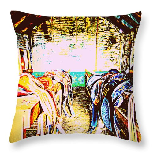 Saddle Throw Pillow featuring the photograph I Like To Be Hiding In The Saddle Room by Hilde Widerberg