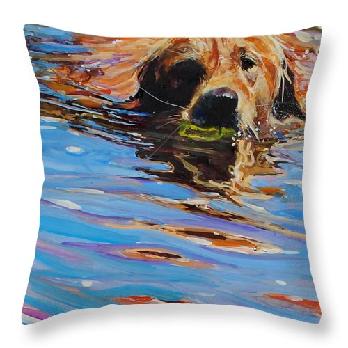 Golden Retriever Throw Pillow featuring the painting Sadie Has A Ball by Molly Poole