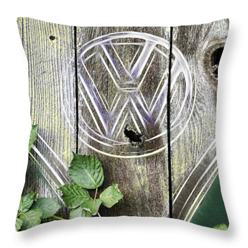 Vw Micro Bus Throw Pillow featuring the photograph Safari Fence by Steve McKinzie
