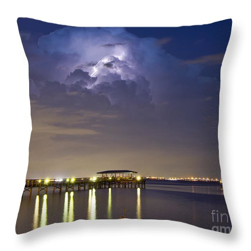 Pier Throw Pillow featuring the photograph Safety Harbor Pier by Stephen Whalen