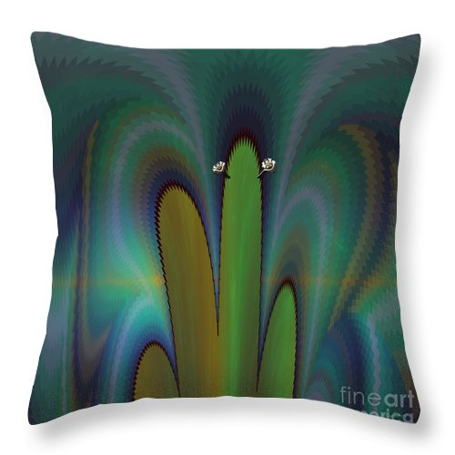 Nature Throw Pillow featuring the digital art Saguaro by Frank Tendrum