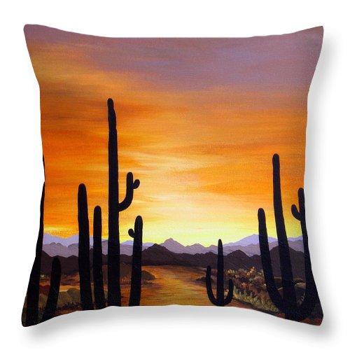 Acrylic Throw Pillow featuring the painting Saguaro Sunset by Carol Sabo