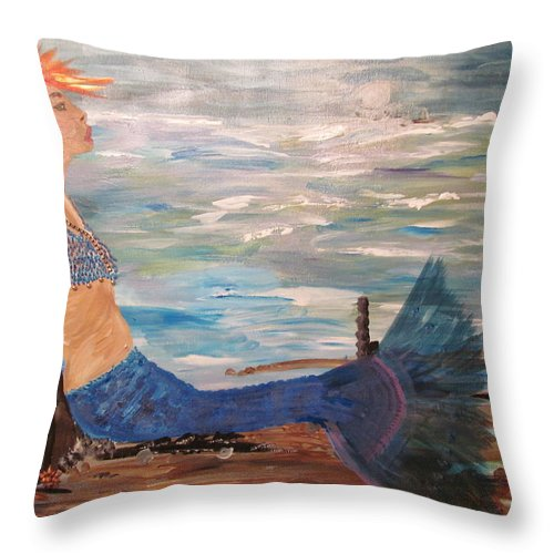 Mermaid Throw Pillow featuring the painting Sahbreena Punk Mermaid by Susan Voidets
