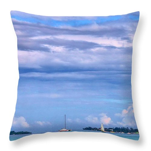 Sailing Throw Pillow featuring the photograph Sail At Sea by Debbie Levene