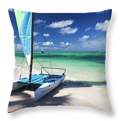 Wind Throw Pillow featuring the photograph Sailboat At Caribbean Sea by Danilovi