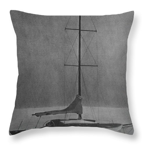 Sailboat Throw Pillow featuring the drawing Sailboat by Byron Moss