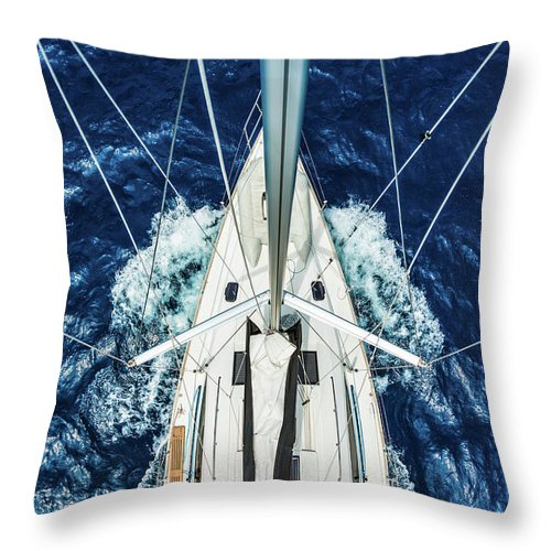 Adriatic Sea Throw Pillow featuring the photograph Sailboat From Above by Mbbirdy