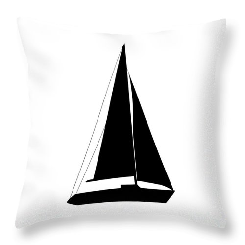 Graphic Art Throw Pillow featuring the digital art Sailboat In Black And White by Jackie Farnsworth