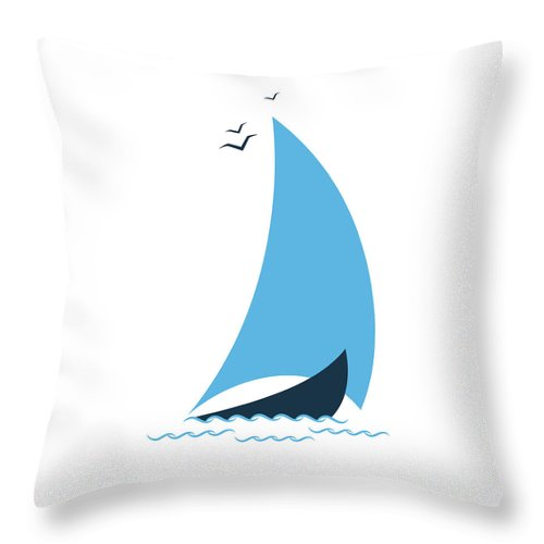 Curve Throw Pillow featuring the digital art Sailboat In The Sea. Concept For The by Liubov Trapeznykova