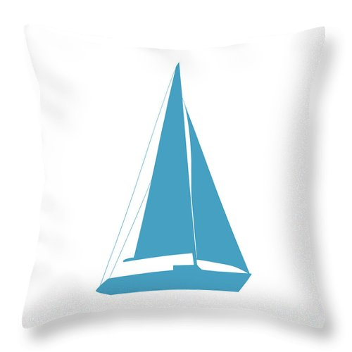 Graphic Art Throw Pillow featuring the photograph Sailboat In White And Turquoise by Jackie Farnsworth